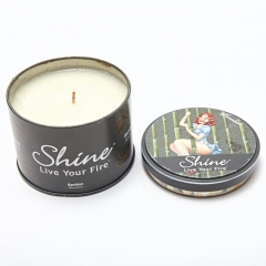 Metal round candle tin box with inner lid