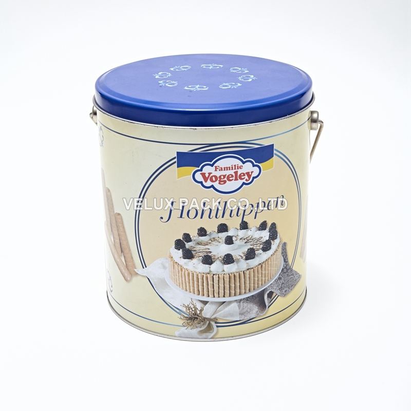 Cookie tin bucket with handle round tin box