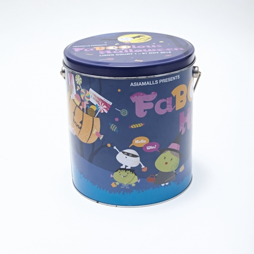 Colorful round biscuit metal bucket