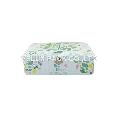 Rectangular Tea Tin Box with Lock
